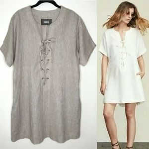 Reformation Beige Linen Abbott Lace Up Shirt Dress